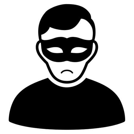 Illustrazione per Unhappy Anonymous Person vector pictograph. Style is flat graphic black symbol with mourning emotion. - Immagini Royalty Free