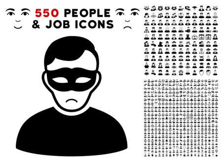 Illustrazione per Dolor Anonymous Person pictograph with 550 bonus pitiful and happy men symbols. Vector illustration style is flat black iconic symbols. - Immagini Royalty Free