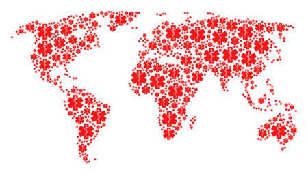 Illustration pour International map concept constructed of medical emblem design elements. Vector medical emblem icons are united into geometric earth illustration. - image libre de droit