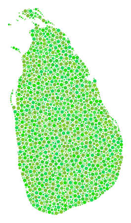 Ilustración de Sri Lanka Island Map mosaic of round dots in different sizes and fresh green color tints. Dots are grouped into sri lanka island map vector collage. Organic vector illustration. - Imagen libre de derechos