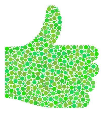 Illustration pour Thumb Up composition of filled circles in various sizes and eco green color tones. - image libre de droit
