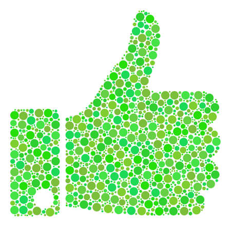 Illustration pour Thumb Up collage of dots in variable sizes and green color tinges. Vector round dots are organized into thumb up mosaic. - image libre de droit