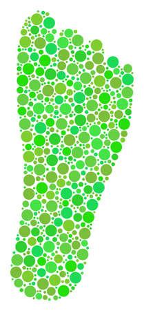Ilustración de Human Footprint mosaic of filled circles in various sizes and ecological green color hues. Vector filled circles are grouped into human footprint collage. Eco vector illustration. - Imagen libre de derechos