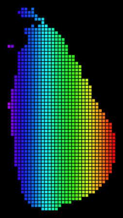 Ilustración de Spectrum dotted Sri Lanka Island Map. Vector geographic map in bright colors on a black background. Multicolored vector concept of Sri Lanka Island Map done of square elements. - Imagen libre de derechos