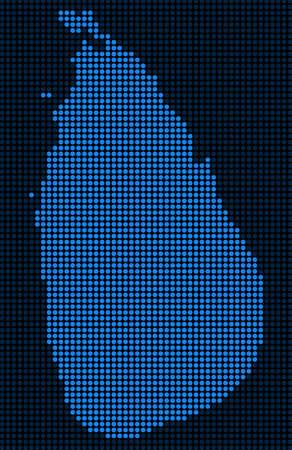 Ilustración de Dotted pixelated Sri Lanka Island Map. Vector geographic map in blue colors. Vector pattern of Sri Lanka Island Map combined of small circles. - Imagen libre de derechos