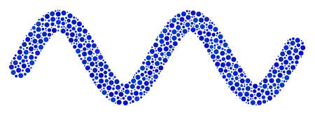 Ilustración de Sinusoidal wave composition of small circles in variable sizes and color shades. Circle elements are organized into sinusoidal wave vector collage. Dotted vector illustration. - Imagen libre de derechos