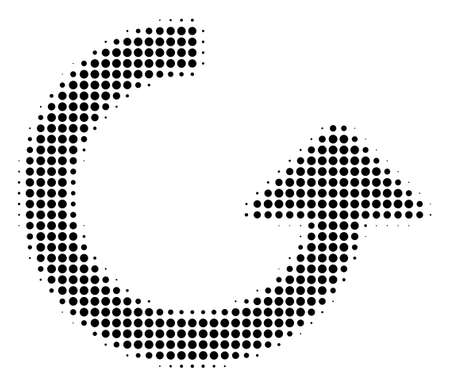 Photo pour Rotate halftone raster pictogram. Illustration style is dotted iconic Rotate icon symbol on a white background. Halftone matrix is round items. - image libre de droit