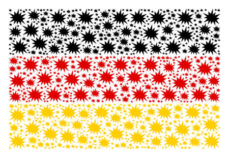 Ilustración de Germany State Flag pattern organized of bang elements. Vector bang elements are combined into conceptual German flag pattern. - Imagen libre de derechos
