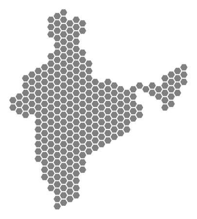 Ilustración de Grey hexagon India Map. Vector geographical map in grey color on a white background. Vector collage of India Map made of hexagonal dots. - Imagen libre de derechos