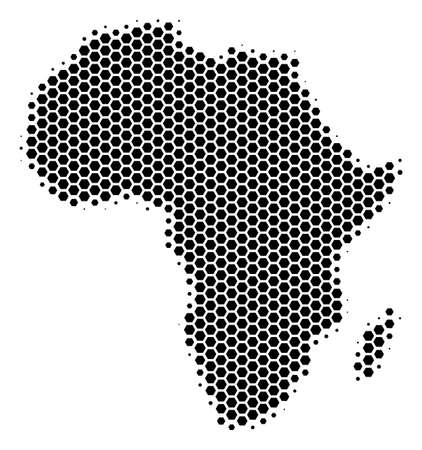 Illustration pour Halftone hexagonal Africa Map. Vector geographical map on a white background. Vector pattern of Africa Map organized of hexagon items. - image libre de droit