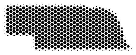 Illustration pour Halftone hexagon Nebraska State Map. Vector geographic map on a white background. Vector composition of Nebraska State Map designed of hexagon pixels. - image libre de droit