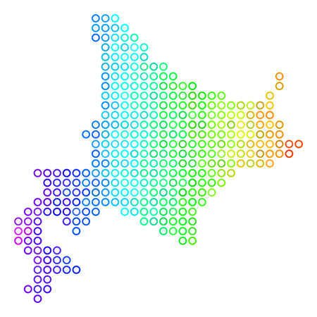 Illustration pour Bright Rainbow Hokkaido Island Map. Vector geographic map in bright spectrum color tinges with horizontal gradient. Color vector collage of Hokkaido Island Map made of regular round dots. - image libre de droit