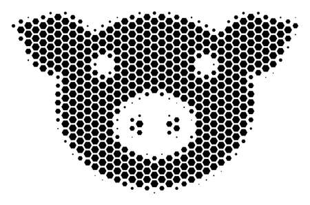 Ilustración de Halftone hexagon Pig Head icon. Pictogram on a white background. Vector concept of pig head icon created of hexagonal spots. - Imagen libre de derechos