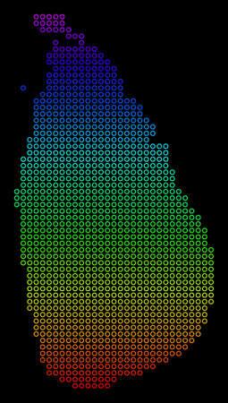 Ilustración de Colored Rainbow Sri Lanka Island Map. Vector geographic map in bright spectrum colors with vertical gradient on a black background. - Imagen libre de derechos