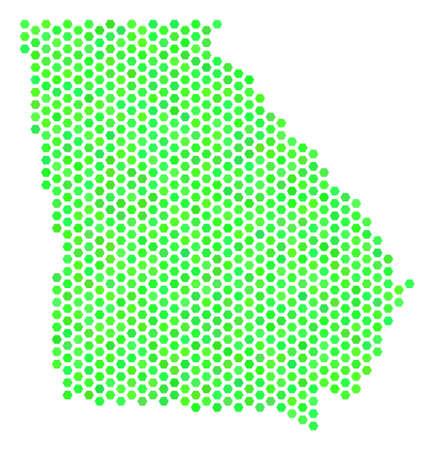 Ilustración de Green American State Georgia map. Vector honeycomb territory scheme in fresh green color shades. Abstract American State Georgia map mosaic is combined with hexagon elements. - Imagen libre de derechos