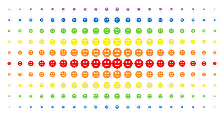 Smiled sticker icon spectrum halftone pattern. Vector smiled sticker pictograms are arranged into halftone array with vertical rainbow colors gradient. Designed for backgrounds, covers,