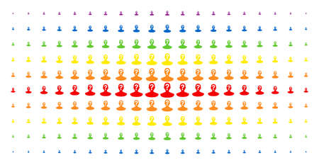 Illustrazione per Unknown person icon spectrum halftone pattern. Vector unknown person items are arranged into halftone array with vertical rainbow colors gradient. Designed for backgrounds, covers, - Immagini Royalty Free