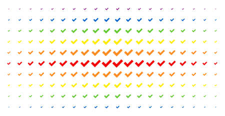 Illustration pour Yes icon spectrum halftone pattern. Vector yes objects are organized into halftone matrix with vertical rainbow colors gradient. Designed for backgrounds, covers, templates and abstraction concepts. - image libre de droit