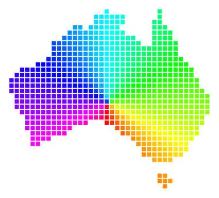 Ilustración de Rainbow Australia map. Vector pixel geographic plan in bright spectrum colors with circular gradient. Impressive vector composition of Australia map designed of regular rectangle cells. - Imagen libre de derechos