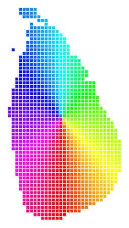 Ilustración de Spectrum Sri Lanka Island map. Vector dot geographic plan in bright spectrum colors with circular gradient. - Imagen libre de derechos