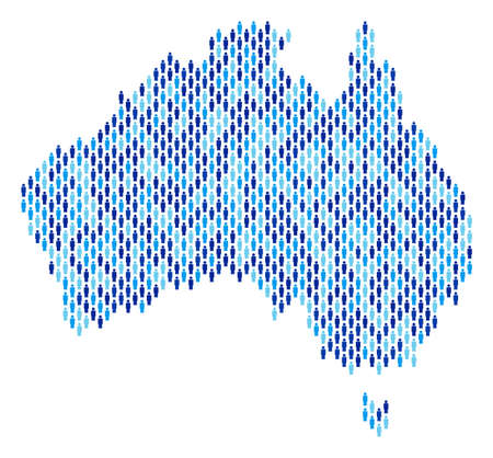 Illustration pour Population Australia map. Demography vector collage of Australia map made of people items. Abstract social representation of national group cartography. Demographic map in blue color tinges. - image libre de droit
