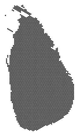 Ilustración de Hex tile Sri Lanka Island map vector territory scheme on a white background. Abstract Sri Lanka Island map composition is organized from hexagonal spots. - Imagen libre de derechos