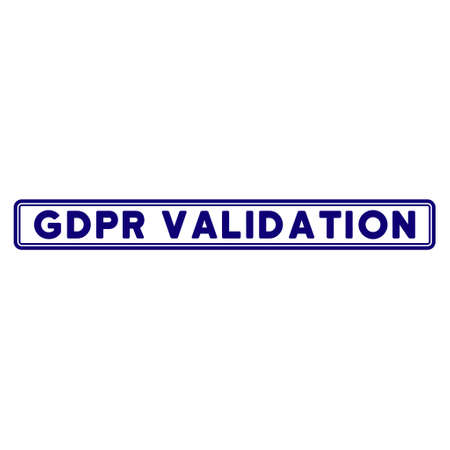 Illustration pour GDPR Validation rectangle seal template. Vector element with clear design for stamps and watermarks. - image libre de droit