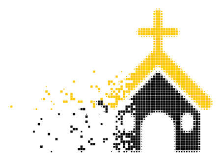 Ilustración de Fractured Christian church dotted vector icon with disintegration effect. Rectangle pieces are composed into damaging Christian church figure. - Imagen libre de derechos