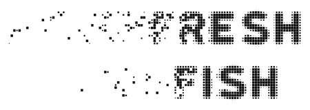 Ilustración de Dispersed fresh fish text dotted vector icon with disintegration effect. Rectangle pixels are organized into disappearing fresh fish text shape. - Imagen libre de derechos
