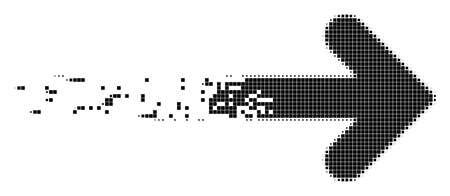 Ilustración de Dispersed right arrow dotted vector icon with disintegration effect. Square dots are combined into dispersed right arrow shape. - Imagen libre de derechos