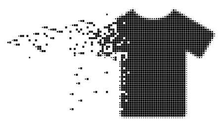 Ilustración de Dispersed T-shirt dot vector icon with disintegration effect. Rectangular elements are combined into dissolving T-shirt shape. - Imagen libre de derechos