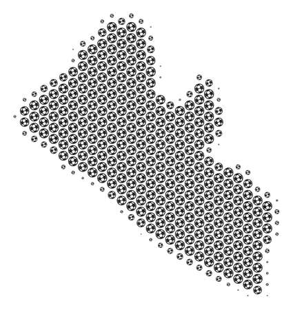 Football ball Liberia map. Vector territory plan in gray color. Abstract Liberia map mosaic is composed from soccer spheres. Mosaic pattern is based on hex-tile matrix.