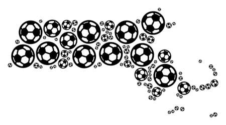 Football Massachusetts State map. Vector geographic scheme composed from soccer balls in variable sizes. Abstract Massachusetts State map composition is formed from random soccer spheres.