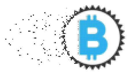 Ilustración de Dispersed Bitcoin medal coin dot vector icon with erosion effect. Rectangular fragments are combined into disappearing Bitcoin medal coin figure. - Imagen libre de derechos