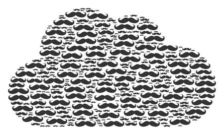 Illustrazione per Cloud composition created of gentleman moustache pictograms in variable sizes. Abstract vector bubble concept. Gentleman moustache icons are united into cloud shape. - Immagini Royalty Free