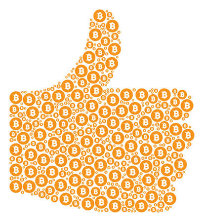 Illustration pour Thumb up figure composed with Bitcoin coin pictograms in different sizes. Abstract vector thumb finger up illustration. Bitcoin coin icons are united into success figure. - image libre de droit