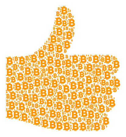 Illustration pour Good mark shape made from Bitcoin components in different sizes. Abstract vector thumb up illustration. Bitcoin icons are combined into approval shape. - image libre de droit