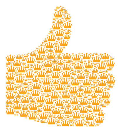 Illustration pour Poll composition created from crown objects in various sizes. Abstract vector thumb up representaion. Crown icons are organized into positive gesture shape. - image libre de droit