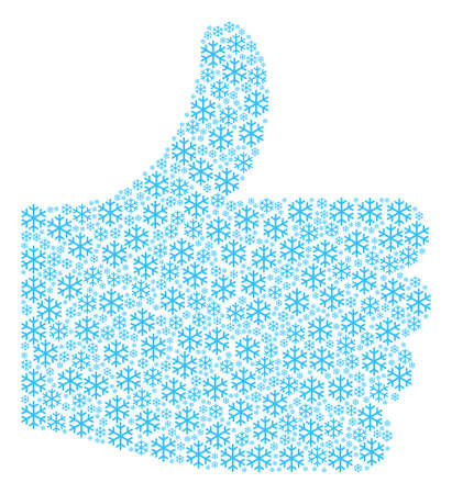 Illustration pour Good reputation figure made with snowflake components in variable sizes. Abstract vector thumb finger up concept. Snowflake icons are organized into poll figure. - image libre de droit