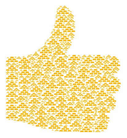 Illustration pour Choose collage composed of treasure bricks icons in variable sizes. Abstract vector thumb up representaion. Treasure bricks icons are united into good rating figure. - image libre de droit