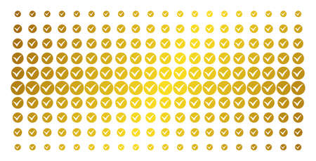 Illustration pour Apply icon golden halftone pattern. Vector apply objects are arranged into halftone array with inclined gold color gradient. Constructed for backgrounds, covers, templates and bright concepts. - image libre de droit