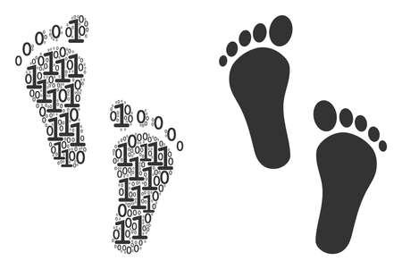 Ilustración de Human steps mosaic icon of zero and null digits in various sizes. Vector digits are composed into human steps collage design concept. - Imagen libre de derechos