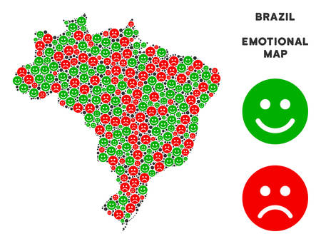 Illustrazione per Happiness and sorrow Brazil map composition of smileys in green and red colors. Positive and negative mood vector concept. Brazil map is formed of red upset and green glad icons. - Immagini Royalty Free