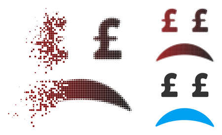 Ilustración de Vector pound bankrupt sad emotion icon in sparkle, dotted halftone and undamaged solid variants. Disintegration effect uses square dots and horizontal gradient from red to black. - Imagen libre de derechos