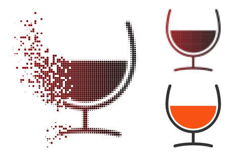 Ilustración de Vector remedy glass icon in sparkle, dotted halftone and undamaged solid versions. Disappearing effect involves rectangle particles and horizontal gradient from red to black. - Imagen libre de derechos