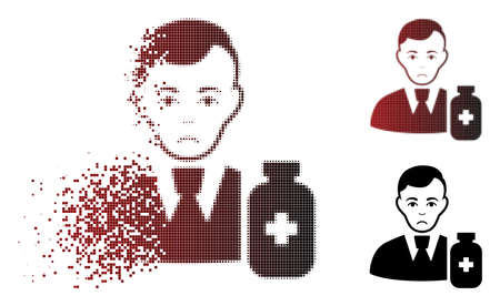Ilustración de Dolor medical pharmacist icon in dissolved, dotted halftone and undamaged solid variants. Points are combined into vector disappearing medical pharmacist shape. Person face has dolor feeling. - Imagen libre de derechos