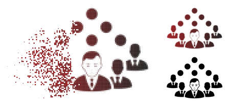 Ilustración de Sadly staff team icon in dissolved, dotted halftone and undamaged whole variants. Points are organized into vector disappearing staff team icon. Human face has depression emotions. - Imagen libre de derechos