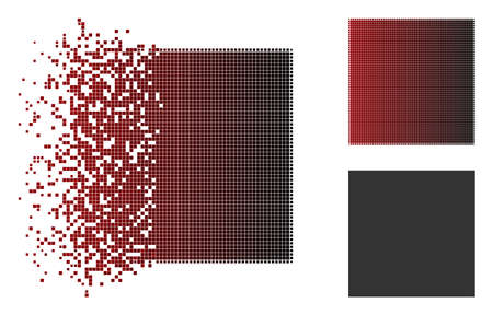 Ilustración de Filled square icon in dispersed, dotted halftone and undamaged whole versions. Fragments are arranged into vector disappearing filled square figure. - Imagen libre de derechos