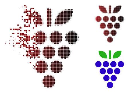Ilustración de Grapes icon in sparkle dotted halftone and undamaged entire versions. - Imagen libre de derechos