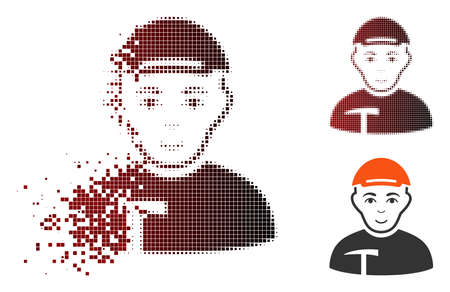 Ilustración de Miner icon with face in dissolved, dotted halftone and undamaged whole variants. Points are combined into vector disappearing miner icon. - Imagen libre de derechos